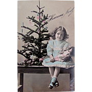Hand Tinted French Real Photo Postcard, Little Girl With Doll and Christmas Tree, Dated 1913
