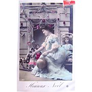 French Tinted Real Photo Postcard, Beautiful Woman, Toy Horse, 3 Dolls, Merry Christmas, Postmarked 1908