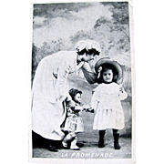 Little Girl, Parasol, Doll and Nanny, French Real Photo Advertising Postcard, The Walk, Circa Early 1900s