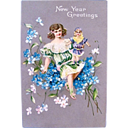 Embossed American Postcard, Little Girl and Doll with Forget-Me-Nots, New Year Greetings, Postmarked 1910