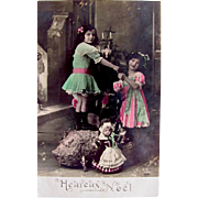 Hand Tinted French Postcard, 2 Little Sisters, Dolls, Toys and Christmas Tree, Merry Christmas, Circa 1910s