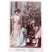 French Tinted Real Photo Postcard, Beautiful Woman, 2 Little Girls, Large Doll and Decorated Tree, Merry Christmas, Postmarked 1909