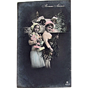 Hand Tinted French Real Photo Postcard, 2 Beautiful Children, Doll, Gifts and Tree, Happy New Year, Dated 1915