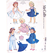 Toni, Sweet Sue Doll Clothes Pattern, Uncut and Factory Folded, Vintage 1955, McCalls 1983, Size 21-22 Inches
