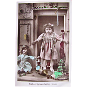 French Tinted Real Photo Postcard, Little Girl Surrounded By Dolls and Toys, Merry Christmas, Vintage 1919