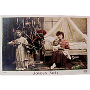 Hand Tinted French Postcard, Mother and 2 Children, Doll, Toys and Decorated Tree, Merry Christmas, Circa 1910s