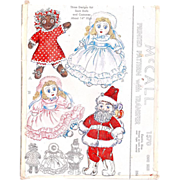 Santa Doll Pattern Uncut Vintage 1940s McCall 1570 with Transfers