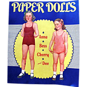 Paper Dolls Anna Bess Cherry and Dee Uncut Saalfield 2411 Vintage 1943 - Red Tag Sale Item
