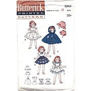 Toni Doll Sewing Pattern Factory Folded Vintage 1950s Butterick 5969 Size 21 Inch