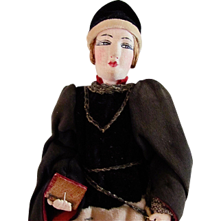 French Studio Art Cloth Doll, Queens Page, With Label Vintage 1930s
