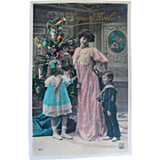 Paris Christmas, French Real Photo Post Card, Joyeux Noel, Mother and Children, Dolls, Toys on Decorated Christmas Tree, Vintage 1908, Divided Back, Stamp and Postmark