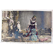 Tinted French RPPC, Little Girl in Traditional Dress, Dolls, Toys, Real Photo Postcard, Vintage 1904