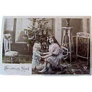 Tinted French RPPC, Little Girl and Big Doll, Decorated Christmas Tree, Real Photo Postcard, Vintage 1910