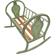 Hand Painted European Doll Cradle, All Original Paint, Large Size, Circa Late 19th Century