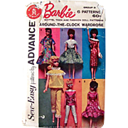 Barbie Dolls Around The Clock Wardrobe Pattern Uncut Advance Group D Vintage 1962