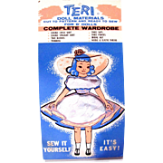 Teri Doll Wardrobe Kit, Size 8-Inch, Pattern and Materials, Vintage 1956