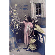 Bonne Annee, Tinted French RPPC, 2 Little Girls, Dolls, Decorated Christmas Tree, Real Photo Postcard, Vintage 1909