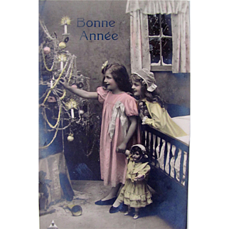 Tinted French Real Photo Postcard, Girls, Dolls and Christmas Tree, Bonne Annee, Vintage 1909