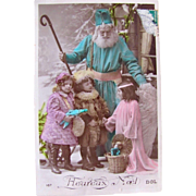 Tinted French Glossy RPPC, Santa in Blue Robe, 3 Little Girls, Dolls, Angel, Real Photo Postcard, Vintage Early 1900s