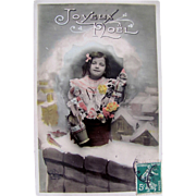 French RPPC, Hand Tinted, Joyeux Noel, Little Girl, Dolls, Roses, Vintage Early 1900s, Divided Back with Written Message and Address
