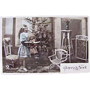 Tinted French RPPC, Little Girl and Big Doll, Decorated Christmas Tree, Joyeux Noel, Vintage 1910