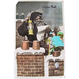 Tinted Real Photo Postcard, Joyeux Noel, Father Christmas on Rooftop With Toys and Doll