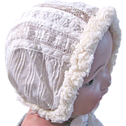 Antique French Baby Doll Bonnet, White with Delicate Handwork and Ruffled Lace