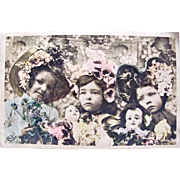 Real Photo Post Card, 3 Little Girls, 2 Dolls, Big Bonnets, Tinted French RPPC, Postmarked 1908