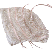 French Baby or Doll Bonnet, Delicate Lace With Pink Ribbon, Circa Early 20th Century