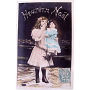Christmas Card, Tinted French Real Photo Postcard, Little Girl Holding Big Doll, Heureux Noël,  Postmarked 1906