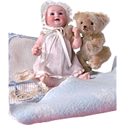 Armand Marseille 328 Character Baby Doll, Dressed, with Teddy Bear, Blankets and Quilt
