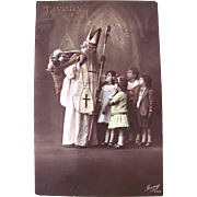 French Tinted Real Photo Postcard, St. Nicholas, Children, Dolls and Toys, Merry Christmas, Circa 1910s