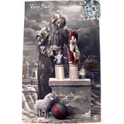 Tinted French Real Photo Postcard, Santa Claus on Rooftop With Dolls and Toys, This is Christmas, Circa 1910s
