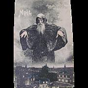 French Tinted Real Photo Postcard, Christmas, Santa Hovering Over A City, Circa 1910s