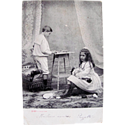 Early French Real Photo Postcard, Girl with 2 Dolls, Boy with Lead Soldiers, Nursery Scene, Postmarked 1904