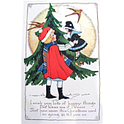Whitney Christmas Postcard, Little Girl, Doll, Fir Tree and Swallows, Circa 1910s