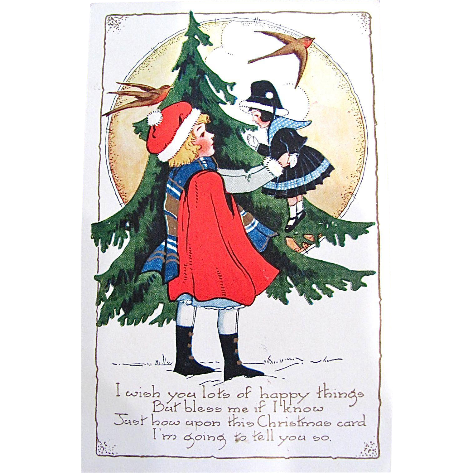 Whitney Christmas Postcard, Little Girl, Doll, Fir Tree and Swallows, Circa 1910s