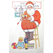 Whitney Postcard, Santa Claus, Doll and Toys, Merry Christmas, Postmarked 1928