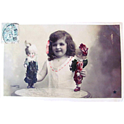 Hand Tinted French Real Photo Postcard, Little Girl With Costumed Dolls, Postmarked 1906
