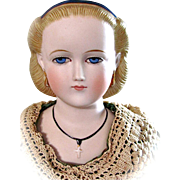German Bisque Lady Doll with Rare Coiffure, Unusual Painted Lashes and Jewelry