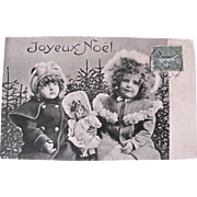 French Real Photo Postcard, 2 Little Girls & Doll, Merry Christmas, Postmarked 1904