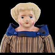 German Papier-Mache Shoulder Head Doll, Blonde Sculpted Hair and Original Body, Circa Late 19th Century