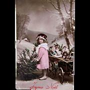 Tinted French Real Photo Postcard, Girl, Christmas Tree, Dolls and Toys, Circa 1910s
