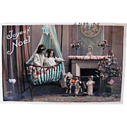 French Tinted Real Photo Postcard, Little Girls, Doll, Toys and Decorated Tree, Merry Christmas, Dated 1908
