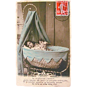 Tinted French Real Photo Postcard, Sleeping Child With Bisque Doll, The Child, Postmarked 1905