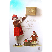 Tinted Real Photo Postcard Little Girl With Doll at the Mailbox, Belgium, Vintage 1930s, Christmas Card