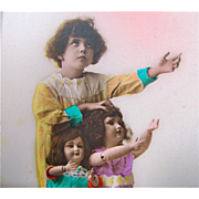 Tinted Real Photo Postcard Little Girl With Bisque Dolls, French, Vintage 1926, Marked Lola