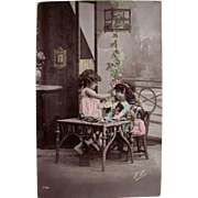 Real Photo Post Card, Little Girl Feeding Her Dolls Tinted French RPPC, Vintage 1912