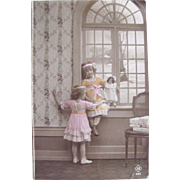 Tinted Belgian RPPC, 2 Little Girls and Bisque Doll, Real Photo Post Card, Vintage Early 1900s