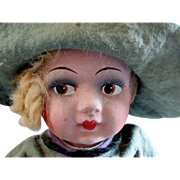 Cloth  and Papier Mache Doll, TLC, In Original Felt Outfit, Vintage 1920s